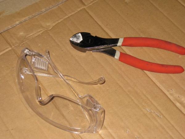 Safety glasses and side-cutters.