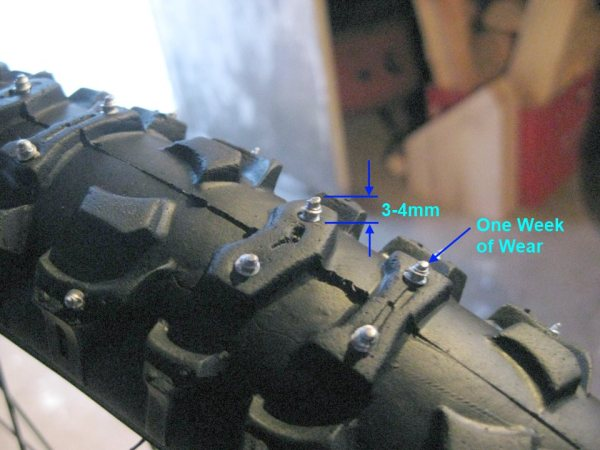 Protrusion of screws is about 3-4mm. A bit of wear after a week of riding.