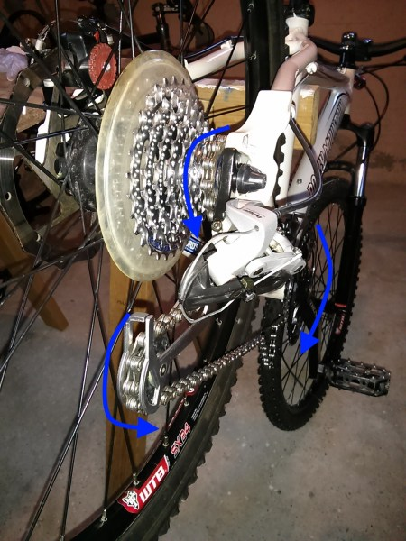 Chain direction through derailleur