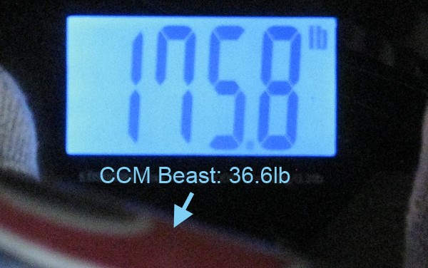 Taking the difference between me+bike and just me, we get the weight of the bike: 36.6lb.